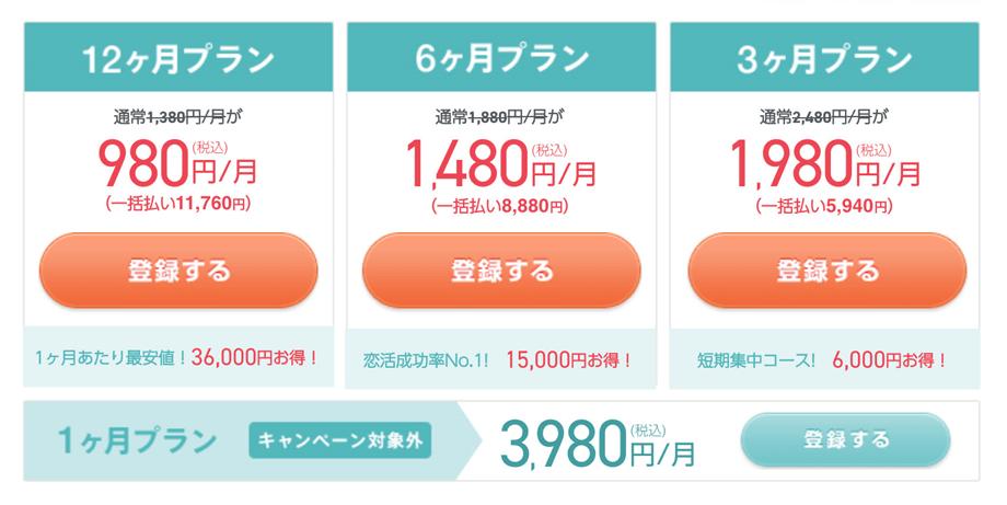 ペアーズを月額980円で利用できるキャンペーン